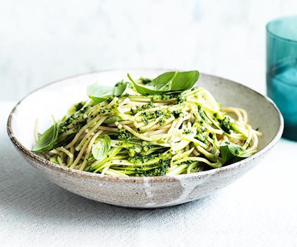 "**[Spelt spaghetti with zucchini and cavolo nero-almond sauce](https://www.gourmettraveller.com.au/recipes/fast-recipes/spelt-spaghetti-with-zucchini-and-cavolo-nero-almond-sauce-15591|target=""_blank"")**"