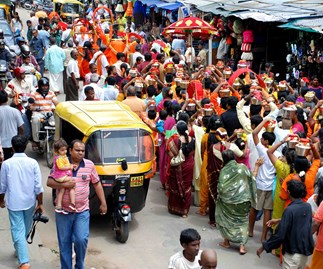 Devotees at the Murugan festival in the Ulsoor district