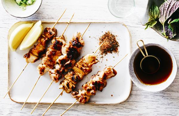 Chicken yakitori with Japanese spices