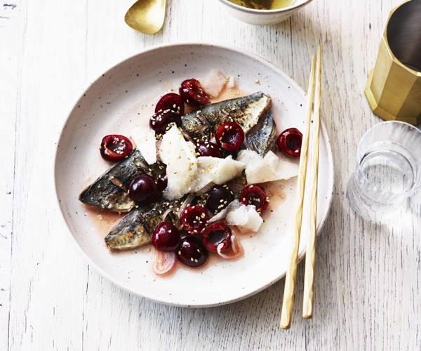 Grilled mackerel with cherry salad