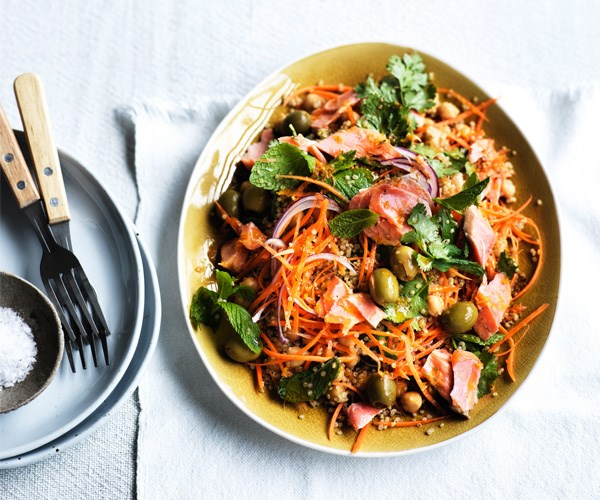 "[Smoked trout, carrot and quinoa salad with harissa dressing](https://www.gourmettraveller.com.au/recipes/fast-recipes/smoked-trout-carrot-and-quinoa-salad-with-harissa-dressing-15584|target=""_blank"")"