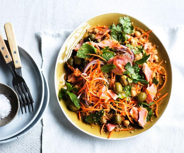 "**[Smoked trout, carrot and quinoa salad with harissa dressing](https://www.gourmettraveller.com.au/recipes/fast-recipes/smoked-trout-carrot-and-quinoa-salad-with-harissa-dressing-15584|target=""_blank"")**"
