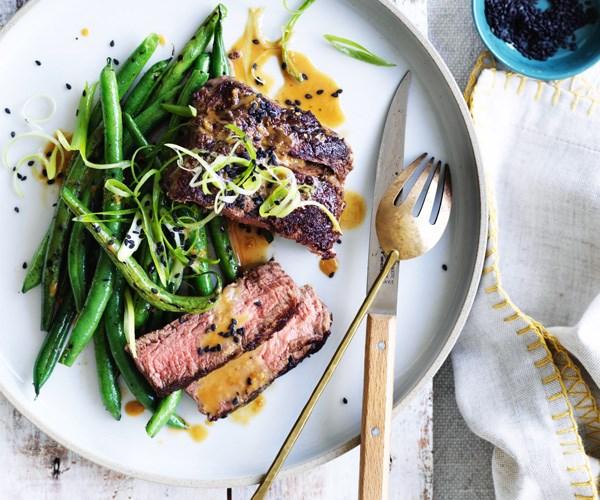 "**[Fillet steak with charred green beans and tahini](https://www.gourmettraveller.com.au/recipes/fast-recipes/fillet-steak-with-charred-green-beans-and-tahini-15594|target=""_blank"")**"