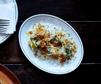 Eggplant salad with shallots and salted ricotta