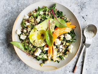 Avocado bowl with quinoa, kale and tahini lemon dressing