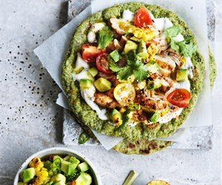 Chipotle chicken flatbread with avocado-corn salsa