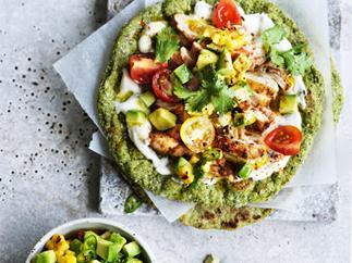 Chipotle chicken flatbread with avocado-corn salsa