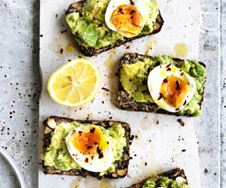 Avocado on seeded toast with soft-boiled egg
