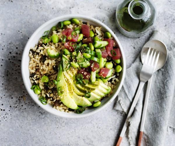 Avocado and tuna brown rice bowl