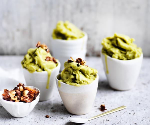 "[Avocado ice-cream with coconut-cacao crunch](https://www.gourmettraveller.com.au/recipes/browse-all/avocado-ice-cream-15677|target=""_blank"")"