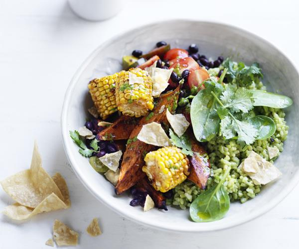 "**[Sweet potato and black bean rice bowl](https://www.gourmettraveller.com.au/recipes/healthy-recipes/sweet-potato-and-black-bean-rice-bowl-15678|target=""_blank"")**"