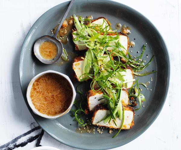 "[**Crumbed tofu with kimchi dressing**](http://www.gourmettraveller.com.au/recipes/browse-all/crumbed-tofu-with-kimchi-dressing-15679|target=""_blank"")"