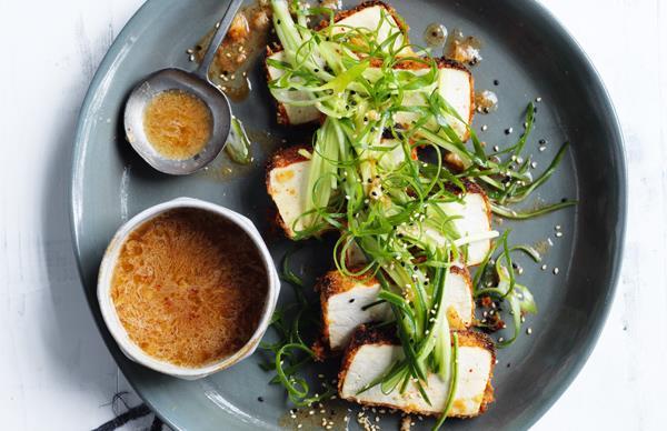 Crumbed tofu with kimchi dressing