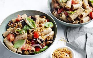 Roast eggplant, tomato and basil spelt pasta
