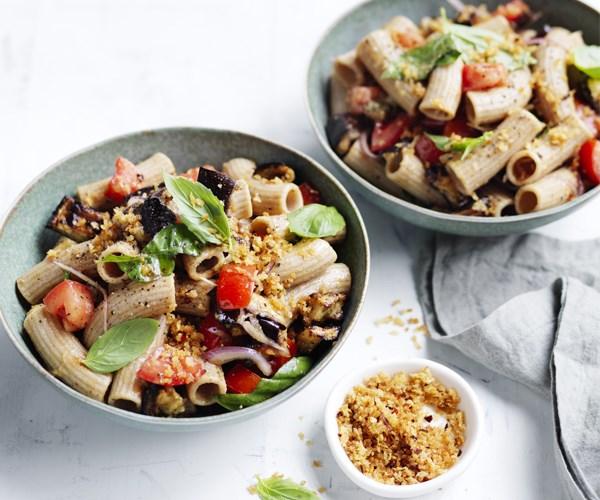 "**[Roast eggplant, tomato and basil spelt pasta](https://www.gourmettraveller.com.au/recipes/healthy-recipes/roast-eggplant-tomato-and-basil-spelt-pasta-15680|target=""_blank"")**"