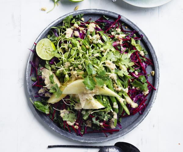 "**[Crunchy slaw with peanut-lime dressing](https://www.gourmettraveller.com.au/recipes/browse-all/crunchy-slaw-with-peanut-lime-dressing-15681|target=""_blank"")**"