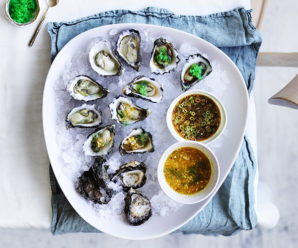 "[Oysters with two sauces](http://www.gourmettraveller.com.au/recipes/browse-all/oysters-with-two-sauces-15704|target=""_blank"")"