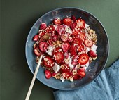 Rocker's buckwheat pancakes with strawberries