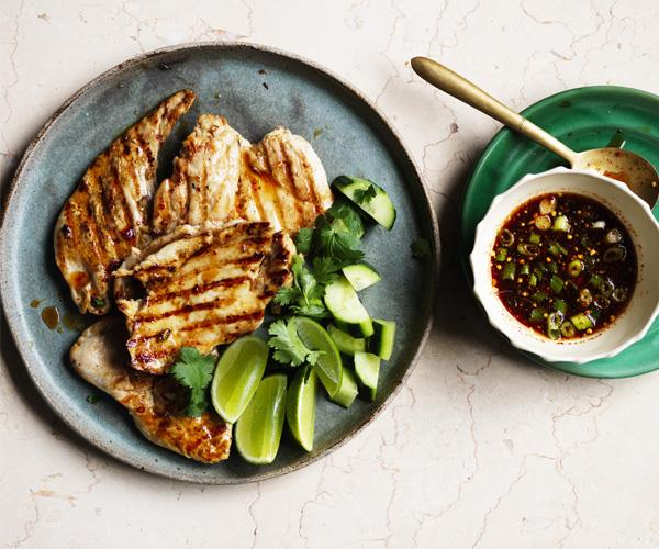 "**[Pounded chicken with jaew](https://www.gourmettraveller.com.au/recipes/fast-recipes/pounded-chicken-with-jaew-15730|target=""_blank"")**"