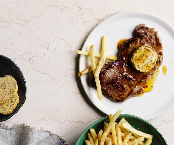 """**[Steak frites with paprika and anchovy butter](http://www.gourmettraveller.com.au/recipes/fast-recipes/steak-frites-with-paprika-and-anchovy-butter-15732