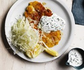 Chicken schnitzel with buttermilk sauce