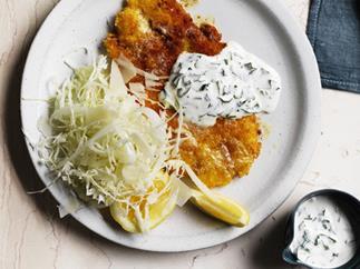 Chicken schnitzel with buttermilk sauce