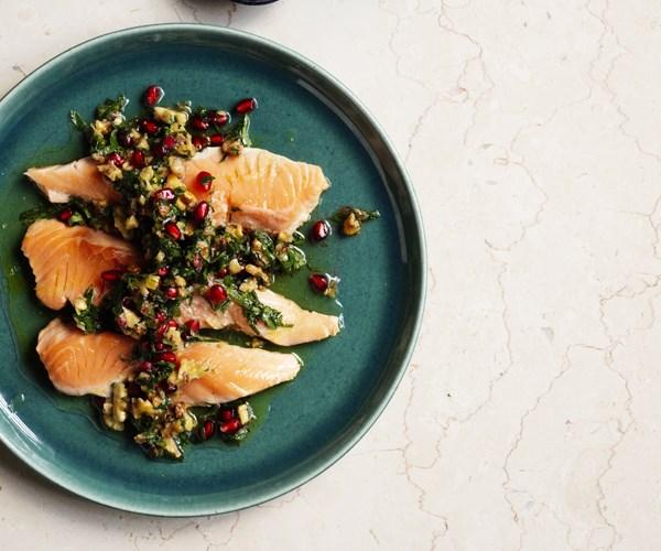 "**[Ocean trout escalopes with walnut-pomegranate salsa](https://www.gourmettraveller.com.au/recipes/fast-recipes/ocean-trout-escalopes-with-walnut-pomegranate-salsa-15736 target=""_blank"")**"