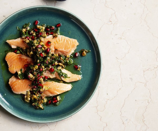 Ocean trout escalopes with walnut-pomegranate salsa
