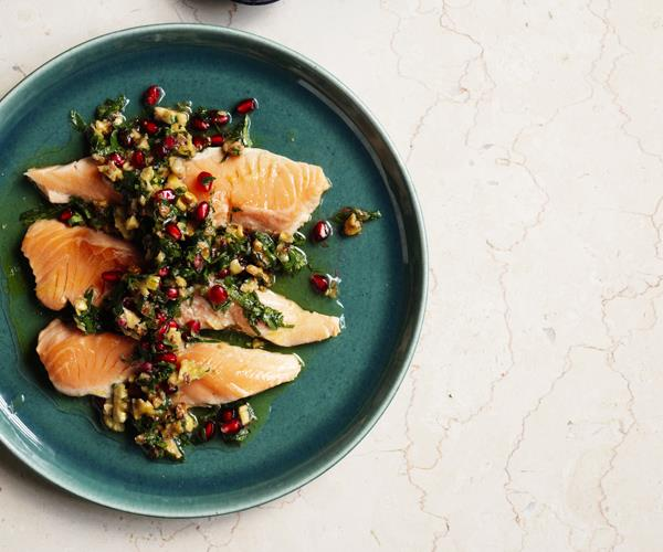 "**[Ocean trout escalopes with walnut-pomegranate salsa](https://www.gourmettraveller.com.au/recipes/fast-recipes/ocean-trout-escalopes-with-walnut-pomegranate-salsa-15736|target=""_blank"")**"