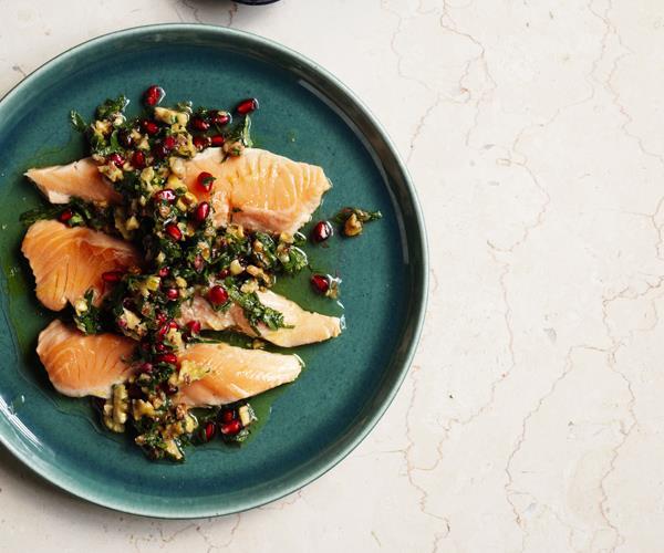 "**[Ocean trout escalopes with walnut-pomegranate salsa](https://www.gourmettraveller.com.au/recipes/fast-recipes/ocean-trout-escalopes-with-walnut-pomegranate-salsa-15736|target=""_blank"")**"