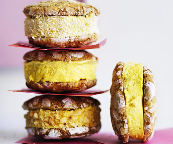Passionfruit-white chocolate semifreddo sandwiches
