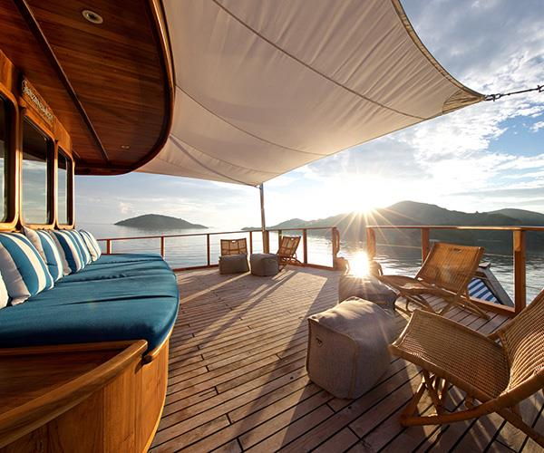 The upper foredeck of Rascal, a charter yacht that can be taken anywhere in Indonesia