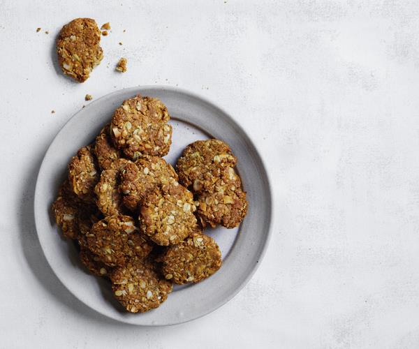 "**[Anzac biscuits, revised](http://www.gourmettraveller.com.au/recipes/browse-all/anzac-biscuits-revised-15742|target=""_blank"")**"