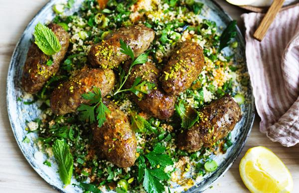 Beef koftas with green couscous and pistachio nuts
