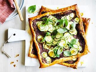 Zucchini, black olive and goat's cheese tarts