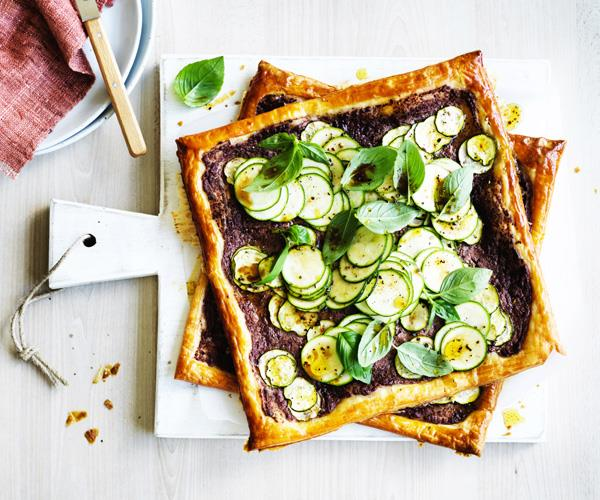 "**[Zucchini, black olive and goat's cheese tarts](https://www.gourmettraveller.com.au/recipes/fast-recipes/zucchini-black-olive-and-goats-cheese-tarts-15748|target=""_blank"")**"