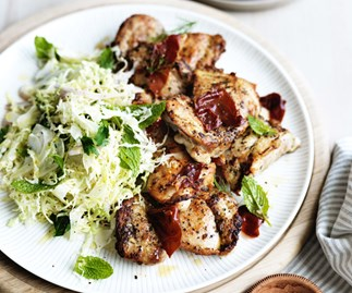 Tarragon chicken thighs with crisp prosciutto, fennel and cabbage
