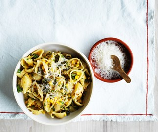 Conchiglie rigate with corn, anchovy and mint