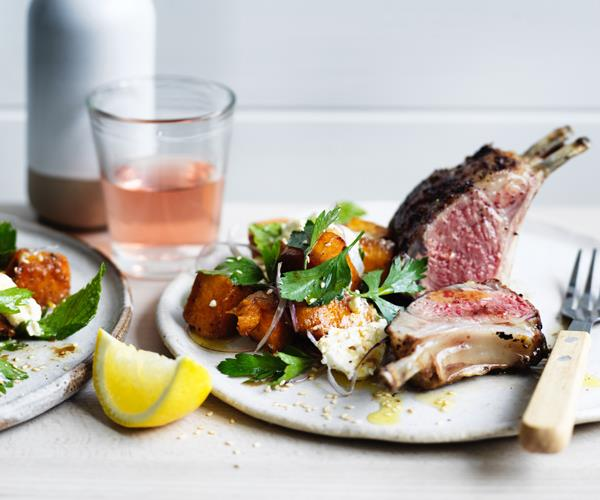 "**[Sumac lamb racks with pumpkin and sesame salad](https://www.gourmettraveller.com.au/recipes/fast-recipes/sumac-lamb-racks-with-pumpkin-and-sesame-salad-15752|target=""_blank"")**"