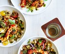 Prawn salad with chorizo, chickpeas and freekeh