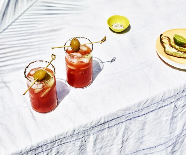 Bloody Mary with pickled jalapenos