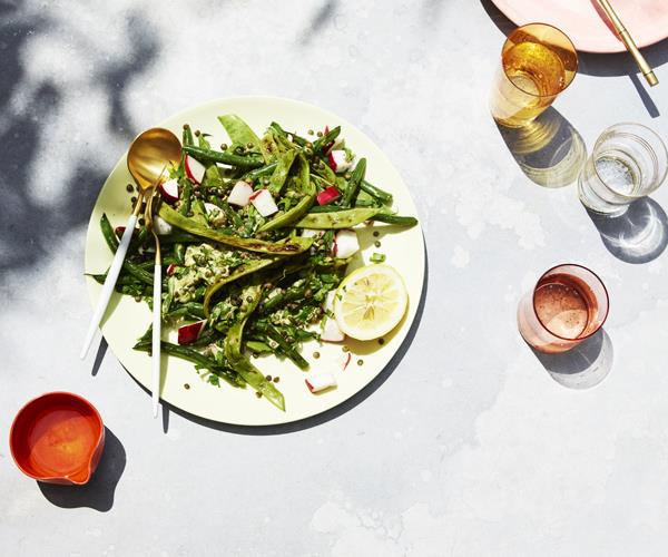 """**[Grilled bean salad with lentils](https://www.gourmettraveller.com.au/recipes/healthy-recipes/grilled-bean-salad-with-lentils-15767