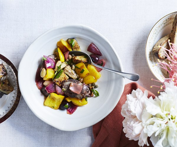 "[Hugh Wennerbom's (The Argyle Inn) chicken liver with caponata](http://www.gourmettraveller.com.au/recipes/chefs-recipes/chicken-liver-with-caponata-15772|target=""_blank"")"