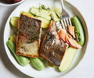 King trout and Lebanese zucchini