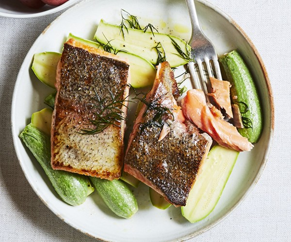 """[King trout and Lebanese zucchini](http://www.gourmettraveller.com.au/recipes/chefs-recipes/king-trout-and-lebanese-zucchini-15773