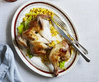 Chicken with leek and corn