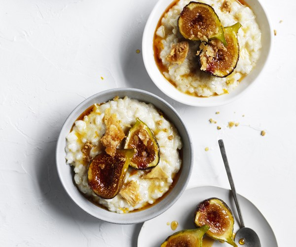 Chilled rice pudding with honeyed figs