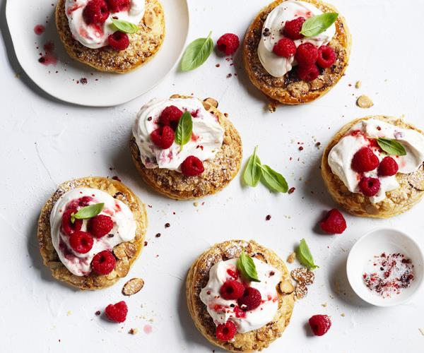 "[**Raspberry-almond crumble galettes**](https://www.gourmettraveller.com.au/recipes/fast-recipes/raspberry-almond-galettes-15803|target=""_blank"")"