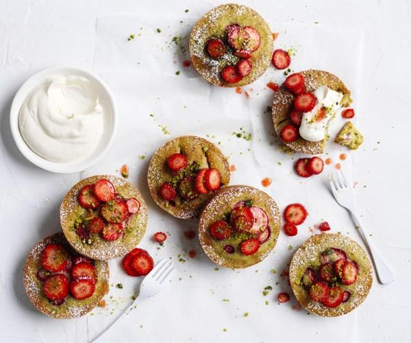 "[**Strawberry pistachio cakes**](http://www.gourmettraveller.com.au/recipes/fast-recipes/strawberry-pistachio-cakes-15808|target=""_blank"")"