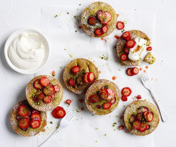"**[Strawberry pistachio cakes](https://www.gourmettraveller.com.au/recipes/fast-recipes/strawberry-pistachio-cakes-15808|target=""_blank""